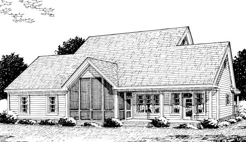 Country Farmhouse Rear Elevation of Plan 68178