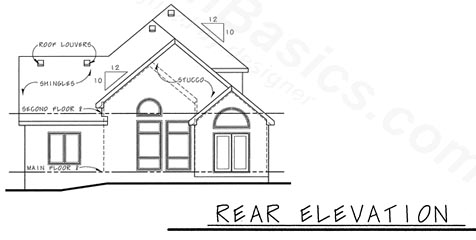 European House Plan 68204 Rear Elevation