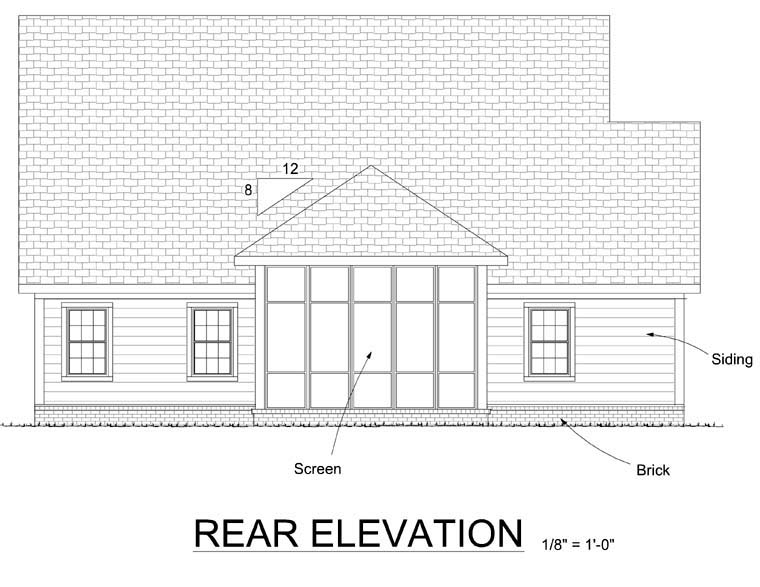 Country Traditional House Plan 68209 Rear Elevation