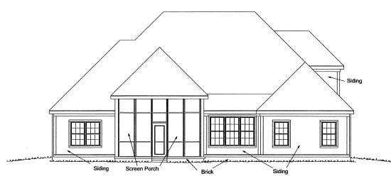 European House Plan 68227 Rear Elevation