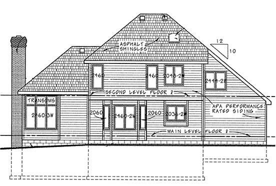 European House Plan 68246 Rear Elevation