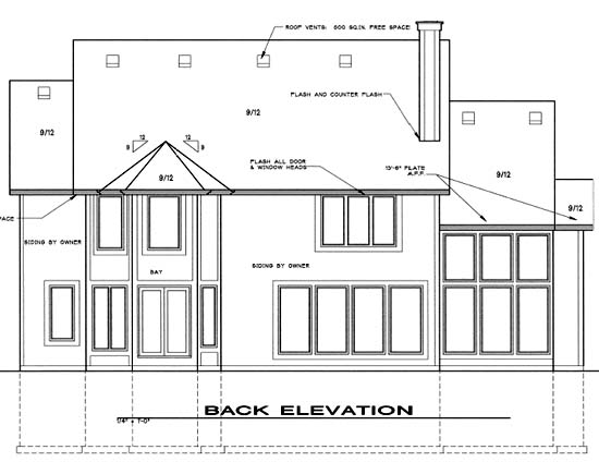 Traditional House Plan 68268 Rear Elevation