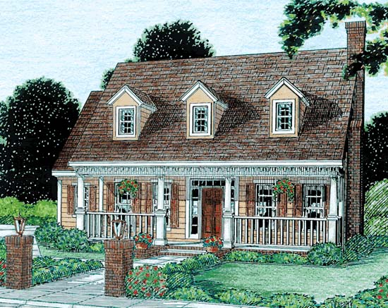 Cape Cod Country Southern House Plan 68341 Elevation