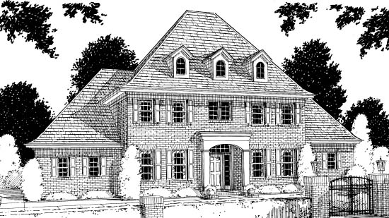 Colonial French Country Greek Revival House Plan 68441 Elevation