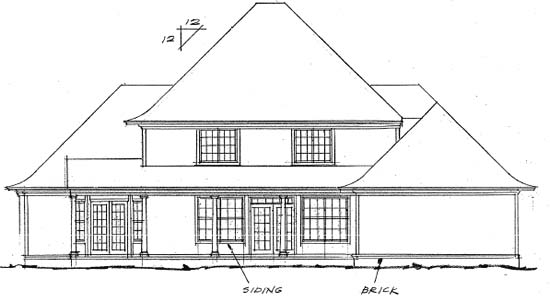 Colonial French Country Greek Revival House Plan 68441 Rear Elevation