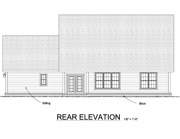 Country Southern House Plan 68446 Rear Elevation