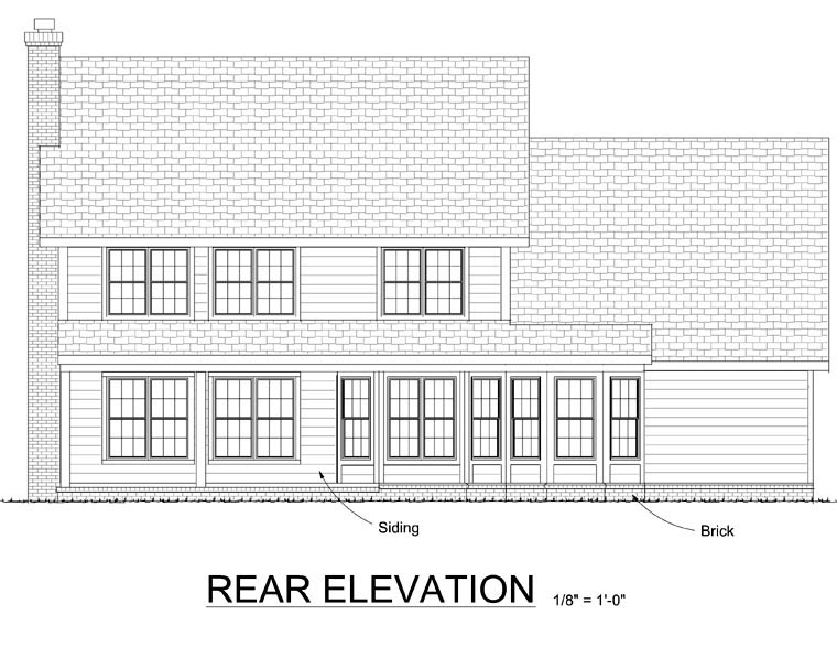 Traditional House Plan 68447 Rear Elevation