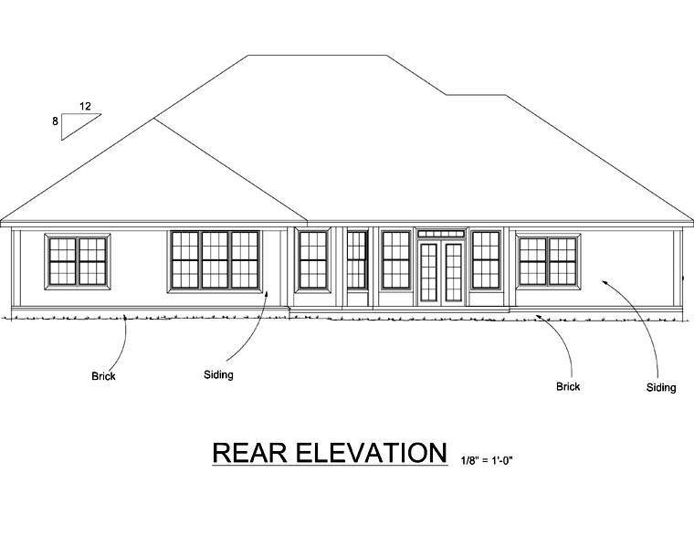 Colonial Traditional House Plan 68460 Rear Elevation