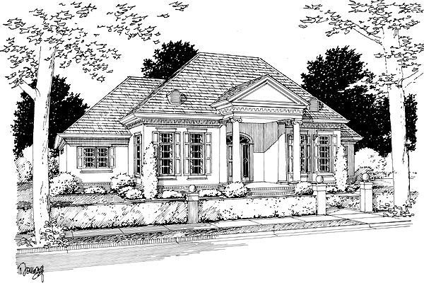 Elevation of Colonial   Greek Revival   House Plan 68466