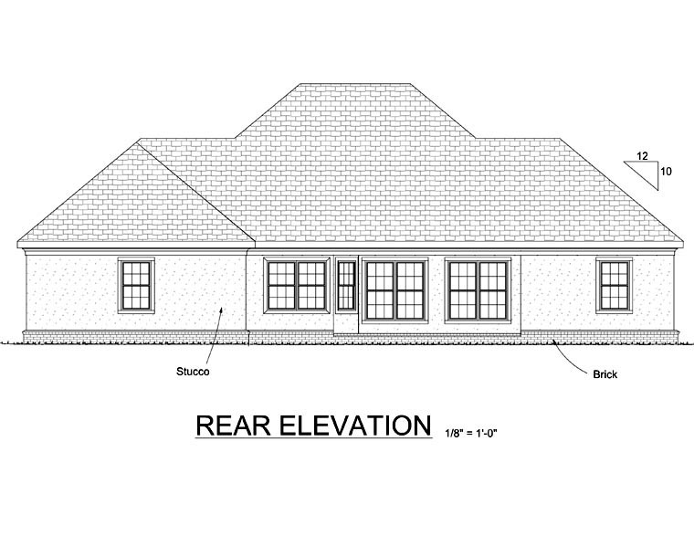 Rear Elevation of Colonial   Greek Revival   House Plan 68466