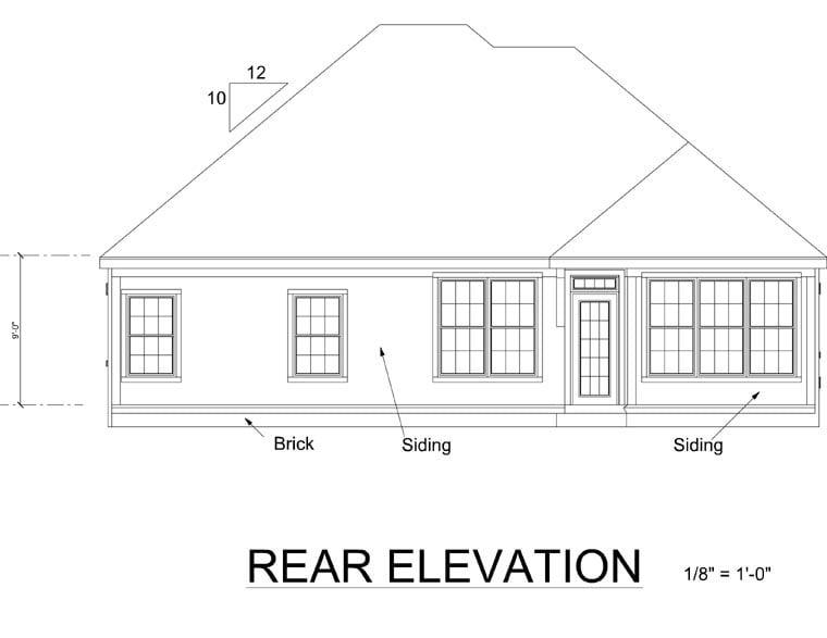 European Traditional House Plan 68469 Rear Elevation