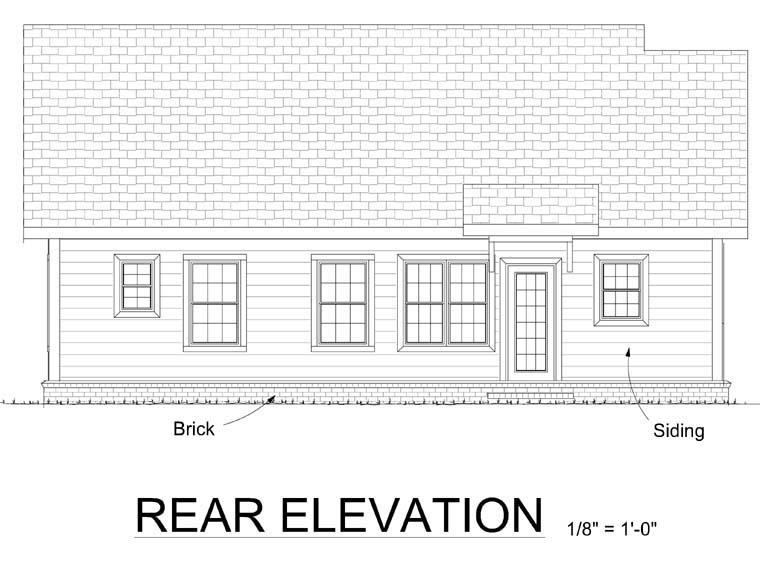 Traditional House Plan 68482 Rear Elevation