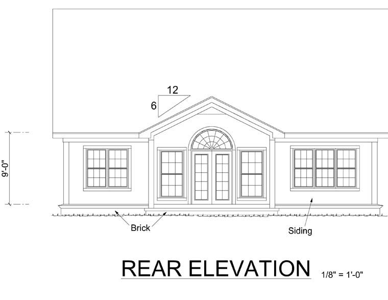 Traditional House Plan 68483 Rear Elevation