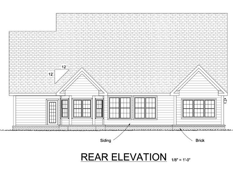 Cape Cod Country Rear Elevation of Plan 68504