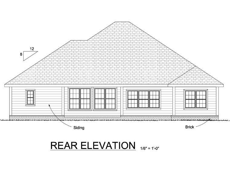 Cottage Traditional House Plan 68513 Rear Elevation