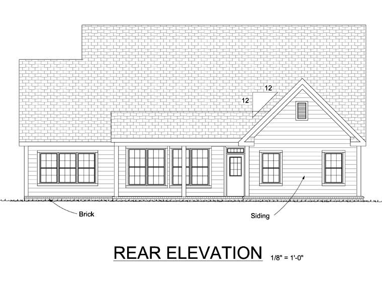 Traditional House Plan 68516 Rear Elevation