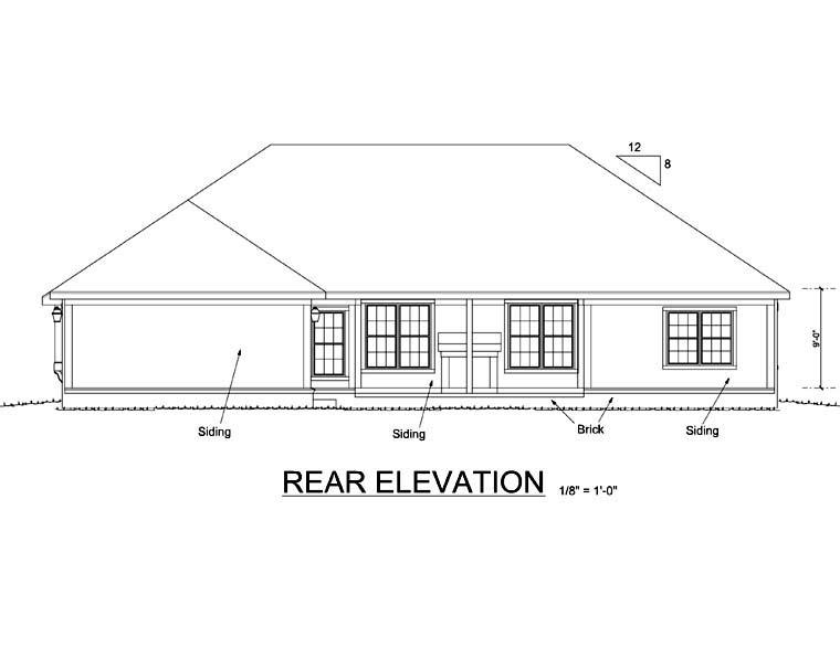 European Traditional House Plan 68524 Rear Elevation