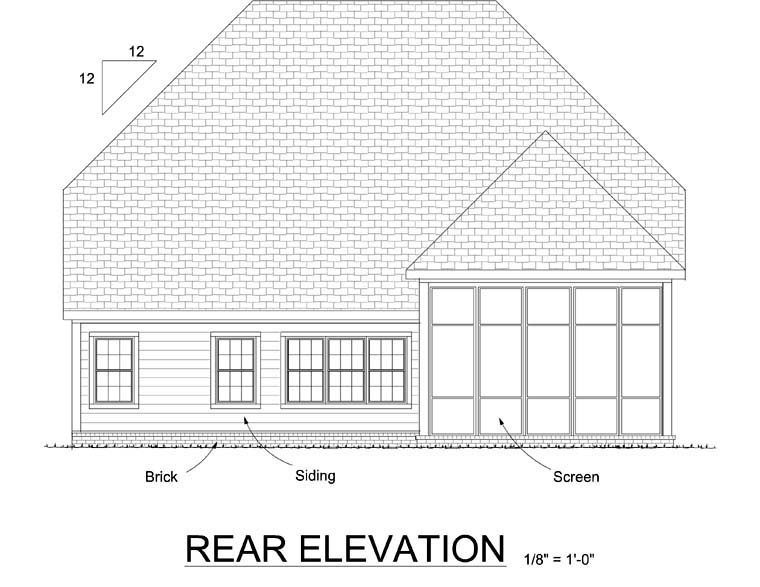European Traditional House Plan 68526 Rear Elevation