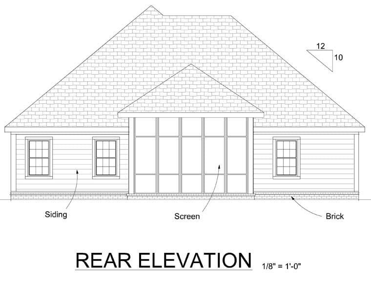 European House Plan 68530 Rear Elevation