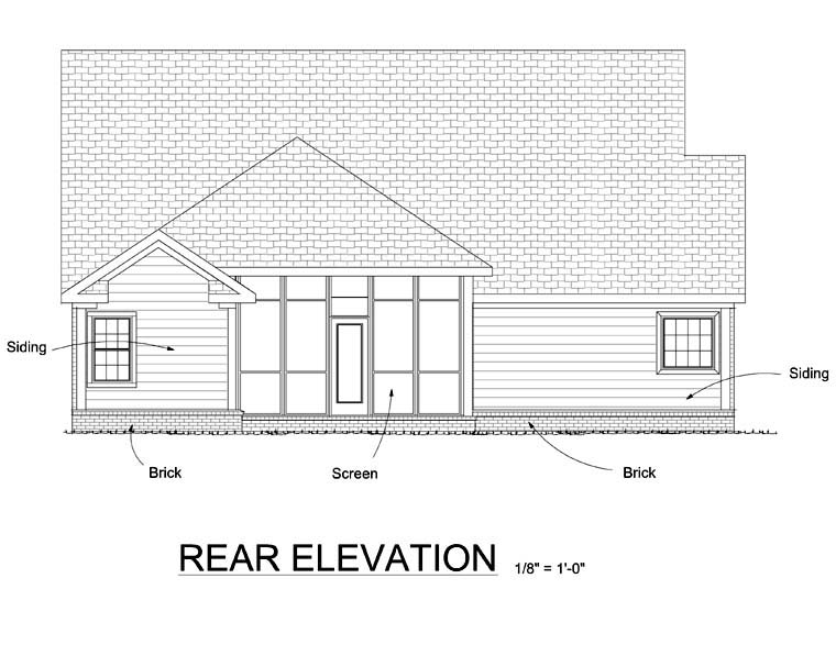Traditional House Plan 68532 Rear Elevation