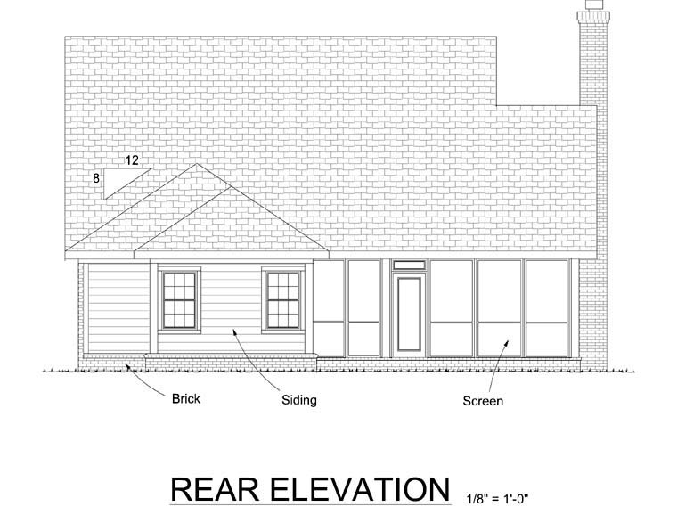 Traditional House Plan 68536 Rear Elevation