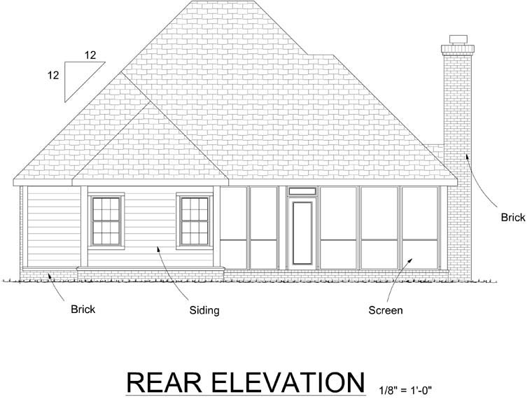 Traditional House Plan 68537 Rear Elevation