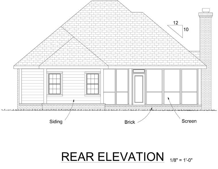 Traditional House Plan 68538 Rear Elevation