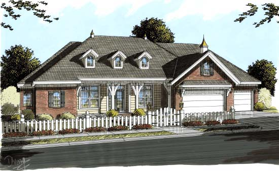Country House Plan 68547 with 4 Beds, 4 Baths, 3 Car Garage Elevation