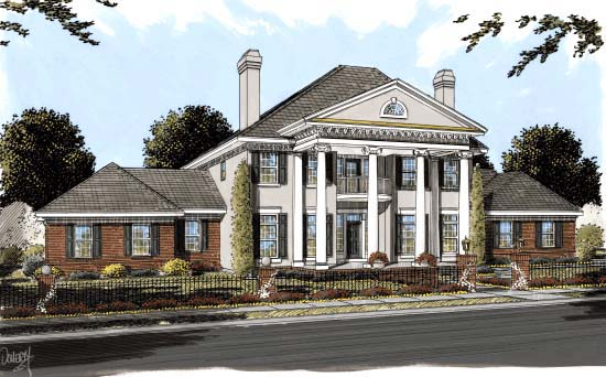 Colonial Plantation Southern House Plan 68558 Elevation
