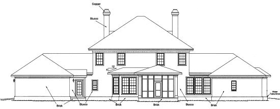 Colonial Plantation Southern House Plan 68558 Rear Elevation