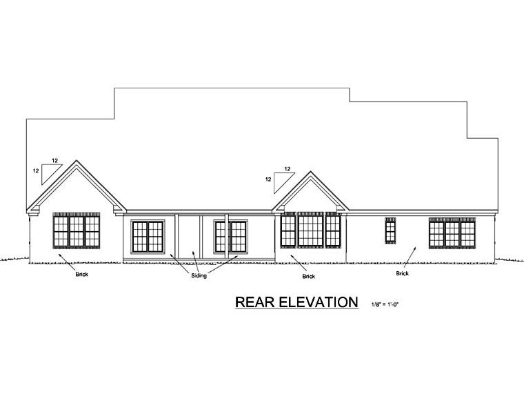 Country Farmhouse Southern House Plan 68559 Rear Elevation