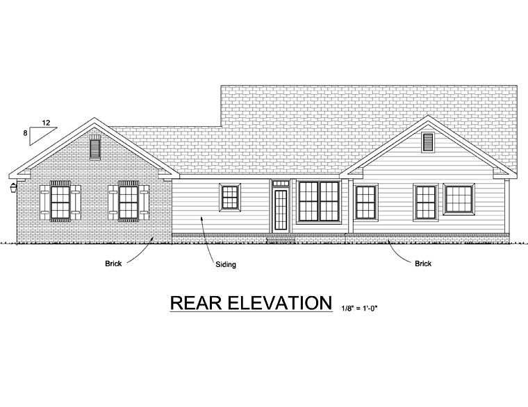 Ranch Traditional House Plan 68566 Rear Elevation