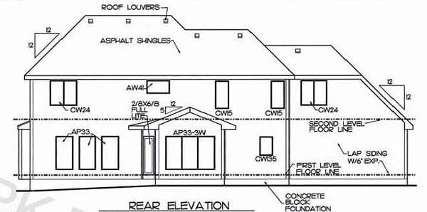 European Tudor House Plan 68582 Rear Elevation