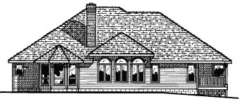 European House Plan 68674 Rear Elevation