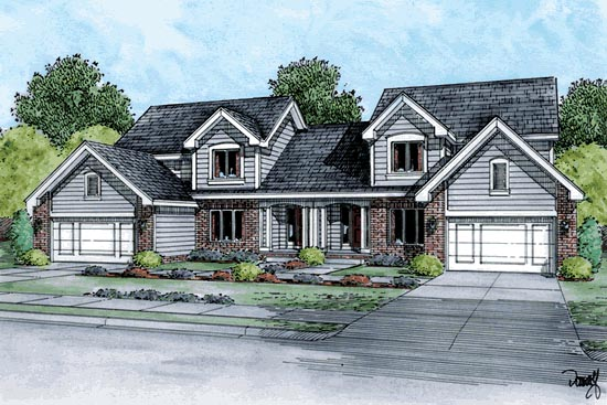 Traditional Multi-Family Plan 68726 Elevation