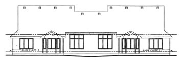 Traditional Multi-Family Plan 68726 Rear Elevation