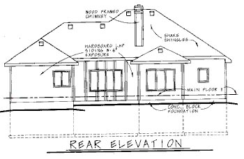 Traditional House Plan 68748 Rear Elevation