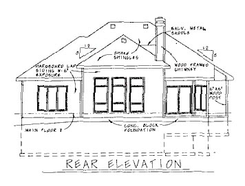 Traditional House Plan 68768 Rear Elevation