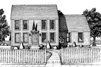 Colonial House Plan 68775 with 3 Beds, 3 Baths, 2 Car Garage Elevation