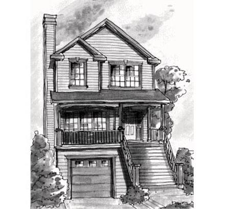 Country, Narrow Lot House Plan 68867 with 3 Beds, 3 Baths, 1 Car Garage