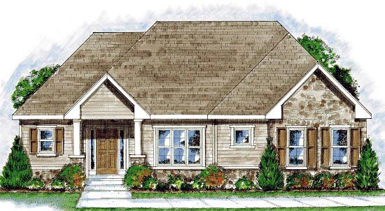 European House Plan 68916 Elevation