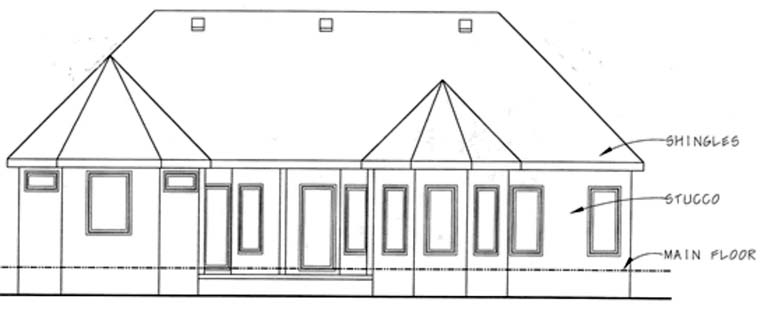 European House Plan 68916 Rear Elevation