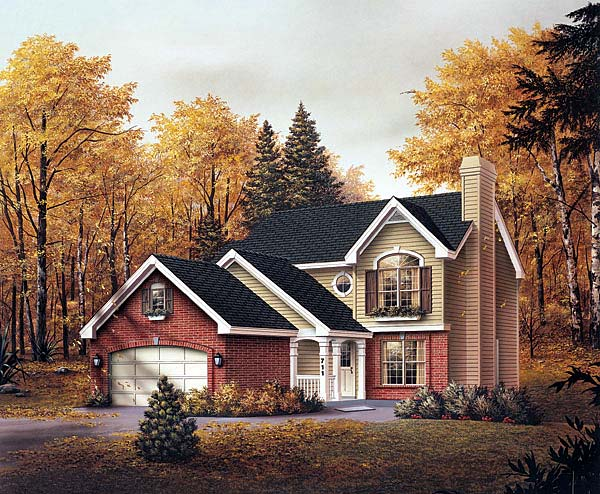 Traditional House Plan 69018 with 3 Beds, 3 Baths, 2 Car Garage Elevation