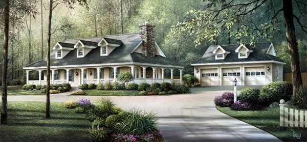 Country Farmhouse Ranch Southern House Plan 69020 Elevation