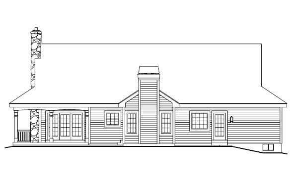 Country Farmhouse Ranch Southern House Plan 69020 Rear Elevation