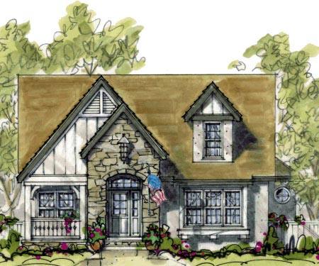 Cottage Craftsman Elevation of Plan 69093