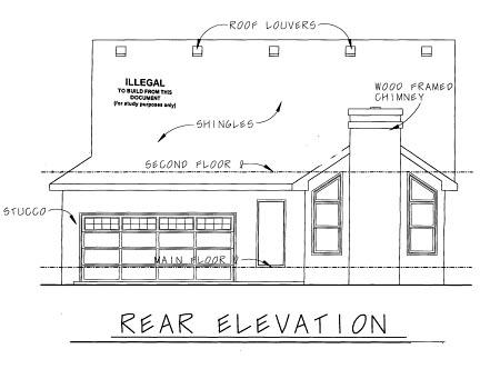 Cottage Craftsman Rear Elevation of Plan 69093