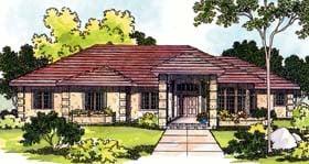 Mediterranean, One-Story House Plan 69111 with 3 Beds, 3 Baths, 2 Car Garage Elevation