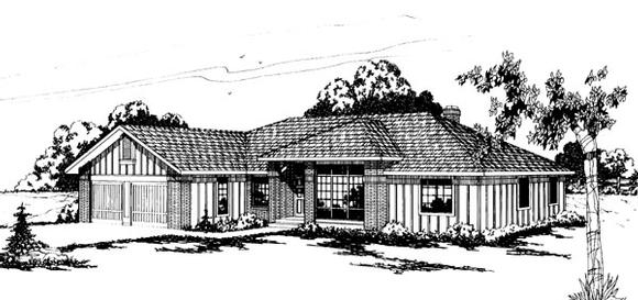 Traditional House Plan 69200 with 4 Beds, 2.5 Baths, 2 Car Garage Elevation