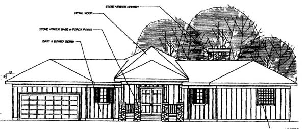 Contemporary Ranch Traditional House Plan 69238 Rear Elevation